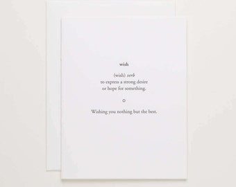 Wish - Definition Card - wishing you the best congratulations card - letterpress wedding congrats - Letterpress Cards by Of Note Stationers