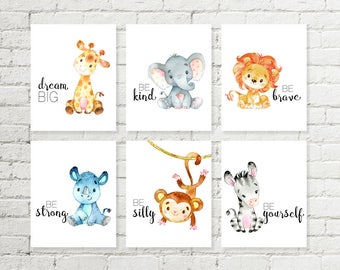 Safari pépinière imprimé girafe éléphant Lion rhinocéros singe zèbre Jungle animaux Printable Wall Art Baby Shower Gift 5 x 7 8 x 10 10x10 lot de 6