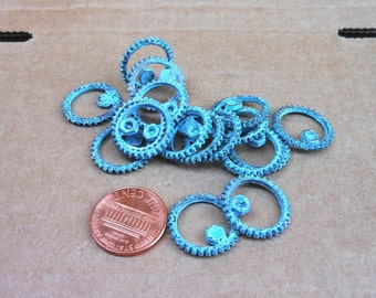 steampunk  SPUR GEAR - VERDIGRIS patina  6 pcs