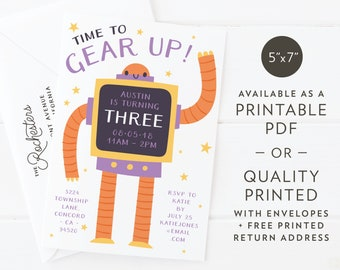 "Gear Up Robot | Birthday Party Invitation | Custom Design | Printable PDF or Quality Printed | A7 5""x7"""