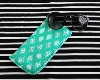 Sunglass Holder - Turquoise Aztec Sunglass Case - Sunglasses Women - Glass Case - Rayban Case - Eyeglass Case - Spring Accessory - Mom Gift
