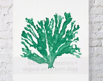 Sea Coral in Emerald - Pantone Colour of the Year 2013 - Sea Life Wall Art - Sea Coral Art Print