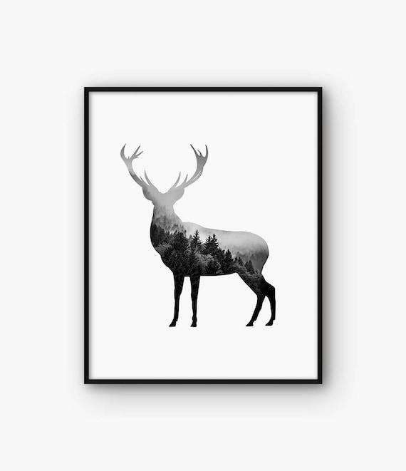 abstrakte hirsch wand kunst schwarz und wei animal print. Black Bedroom Furniture Sets. Home Design Ideas