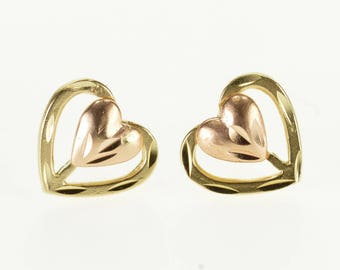 14k Layered Two Tone Textured Heart Post Back Earrings Gold