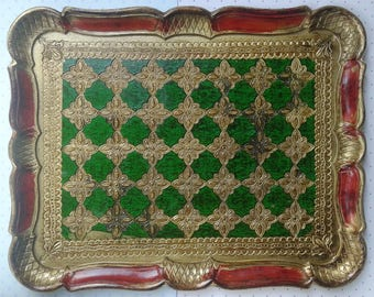 Vintage wooden tray, red, gold, green, Made in Italy