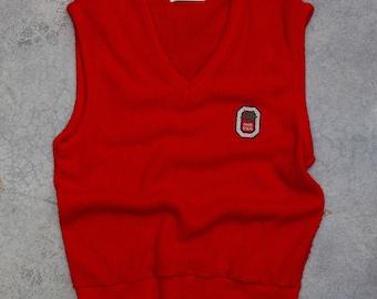 Vintage Ohio State Sweater Vest Silver Block O Buckeye Leaf V Neck Jumper | VTG OSU Size MEDIUM Bucks | 7U