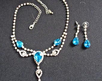 Aqua Rhinestone Necklace Set - Costume Jewelry