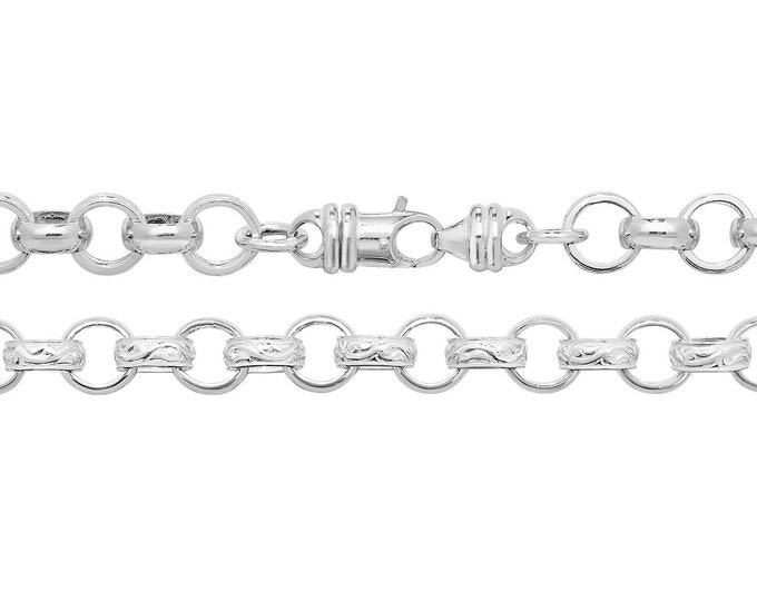 """Gents Solid 925 Sterling Silver Round Engraved 8mm Belcher Chain 24"""" 26"""" 30"""""""