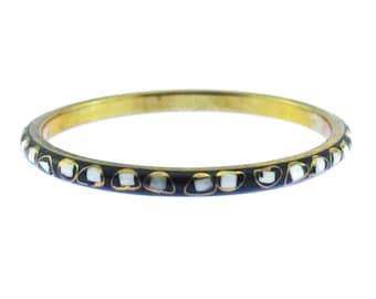 Thin Black Bangle, Black and Gold Bangle Bracelet, Thin Brass Bracelet with White Inlay