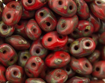 """Opaque Red Picasso SuperDuo Beads 2/5mm 2.5"""" Tube 364-25-T9320/C"""