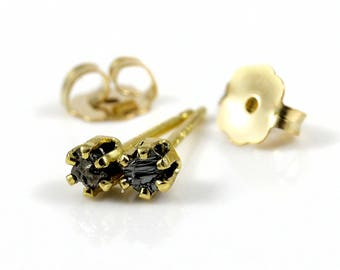 Tiny Rough Diamond Post Earrings - 2mm 14K Gold Filled Studs - Black Raw Diamonds - April Birthstone