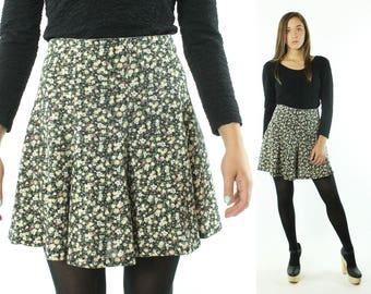 Vintage 90's Skorts Mini Skirt Black Floral Knit Shorts High Waisted Rise 1990s Medium M Sash