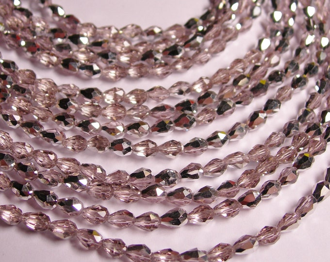 Faceted teardrop crystal beads - 100 pcs - 3mm x 5mm - silver pink - AB - CLGD16