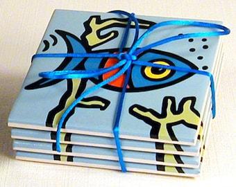 Fish Ceramic Coasters - 50% Off Ceramic Coaster Sale