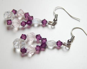 Purple sparkling earrings with special chrystal beads