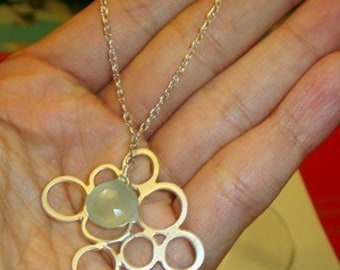 bubble link with aqua chalcedony sterling silver chain necklace
