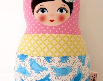 "Babushka matryoshka softie plush doll pillow gift, Medium, 38cm/15"" tall, tricolor style"