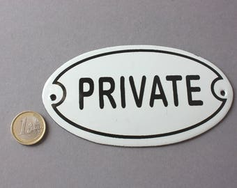 Private sign enamel Shabby, door sign Vintage, wall hanging oval classic, rustic wall plaque white black, nostalgic