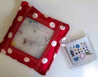 I Spy Bag, red and white polka dot ispy, look and find, sensory toy, montessori toy, developmental toy