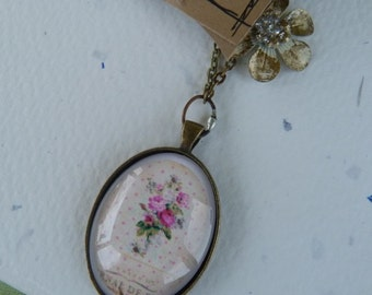 Floral Necklace, 11 inch Brass Ball Chain, Unique Gift for Her, Pendant, Gift for daughter,Vintage, Shabby Chic