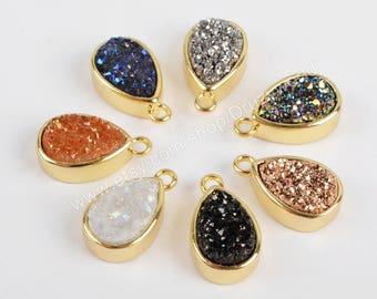 Wholesale Gold Plated Bezel Teardrop Rainbow Natural Titanium Agate Druzy Geode Charm Pendant Sparkly Drusy Crystal Gemstone Jewelry ZG0155