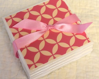 Tile Coaster Set - Pink & Ivory