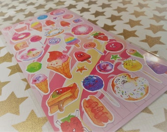 Kawaii Face Foodie Fun Sticker Sheet For Snail mail, cards, gifts, planners, photos, school, diy, partys, books, cell phones, scrapbooking.
