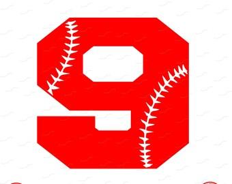 Digital Cut File, Monogram Baseball Numbers, Number 9, 9, Softball, Vinyl Cutting File, Baseball, SVG, DXF, EPS, Silhouette, Cricut