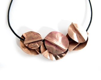 Layered Rustic Copper Bib Necklace - Chunky Copper Statement Necklace - Textured Red Copper Black Leather Neck - Hand Forged Necklace