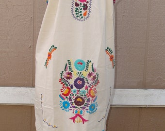 One Size for Large and Medium  Mexican Peasant Multicolor Floral Embroidered Tunic Top Dress
