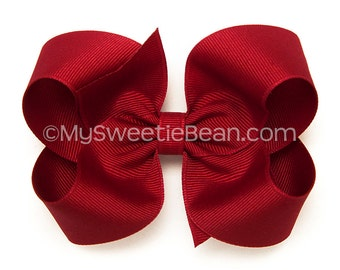 """Rich Red Hair Bow, 4 inch Large Boutique Bow, Cranberry Hairbow, Classic Hair Bows for Toddlers, Baby Girls, Dark Red Grosgrain Bow, 4"""" Bow"""