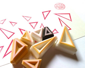 triangle rubber stamp set | pattern & shape | birthday christmas scrapbooking | diy art journal | hand carved by talktothesun | set of 7