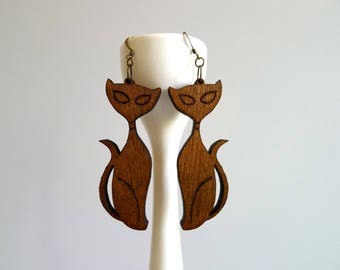Mid Century Modern Laser Cut Wood Cat Earrings