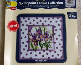New DMC Collection Iris Polka Dot Needlepoint Canvas Flowers