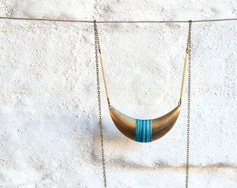 Crescent Moon Pendant Wrapped in Cotton Thread, Boho Look