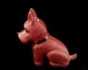 Red Celluloid Scottie Dog Scottish Terrier Westie Figurine