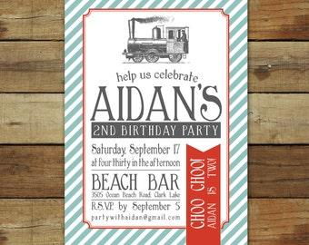 Train birthday invitation, vintage train birthday party, birthday party invitation, choo choo train