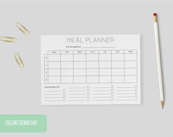 Meal Planner Minimal A4 Interactive and Printable Files Included INSTANT DOWNLOAD