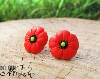 Flower red poppy Earrings from was (fimo) flower red chips