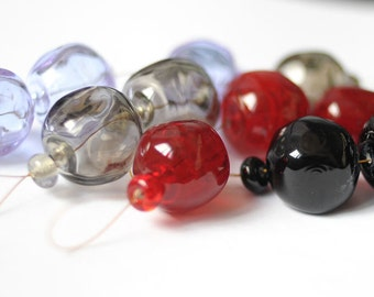 Hollow Beads Handmade Lampwork Hollow Bead Jewelry Supplies Jewelry Findings Hollow Glass Beads Loose Beads Red Black Gray Purple