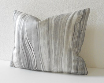 Gray marbled linen decorative pillow cover