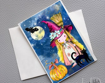 Little blond witch and black cat Halloween card, Halloween greeting card, Printable Halloween witch card