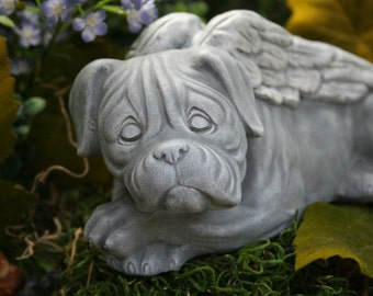 Boxer Dog  Angel -  Bull Mastiff Pet Memorial Concrete Statue