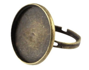 Ring with one socket for a cabochon (20mm)-Bronze-Adjustable