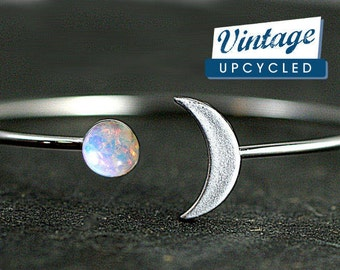 Crescent Moon Bangle with genuine vintage fire opal stone. Hand patinated silver or 925 sterling. Fully adjustable. Bangle bracelet.