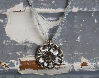 Aquamarine Necklace, Beaded Necklace, Aqua Blue, Gemstone Necklace, Charm Necklace, Botanical, Rustic, Sterling Silver, Boho Rustic