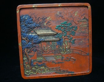 """Large Old Chinese Red Zinnober Carving Ink Stick Inkslab """"QianLong"""" Mark"""