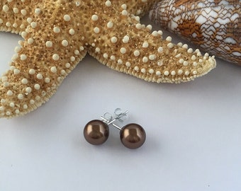 Chocolate Pearl Studs