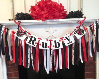 Lady Bug Baby shower decor - Ladybug 1st Birthday Rag Tie Backdrop - Little Lady Baby Shower Name Garland and rag tie banner - custom colors