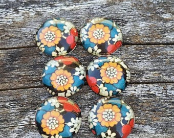 12mm 70's Floral Glass Cabochon